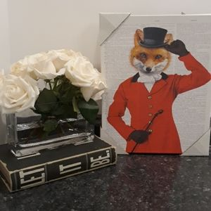 British RED FOX Coat Cane Top Hat Canvas Royal ART
